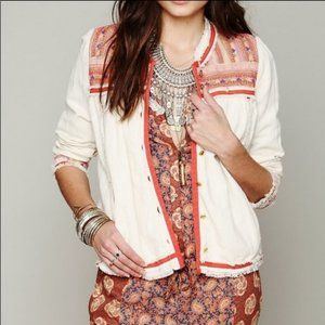Free People White Button Embroidered Jacket Raw